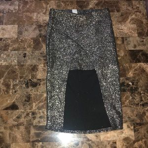 Gold Glitter Pencil Skirt with Front Cut-Off